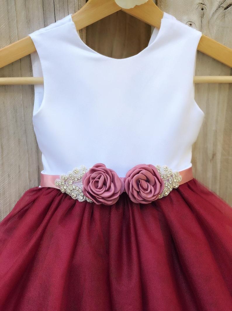 f68eb43fc Burgundy Flower Girl Dress with Rhinestone Flower Sash.   Etsy