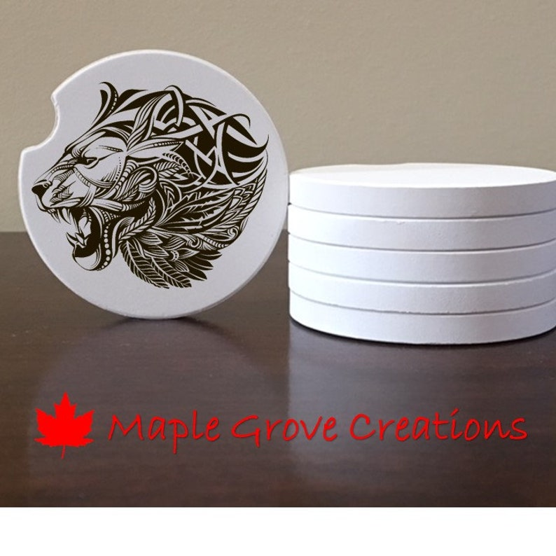 Hardboard or Rubber Custom Car Coasters Sandstone 2.56 Coasters Set of 2 Zentangle Mandala Lion Head Car Coasters