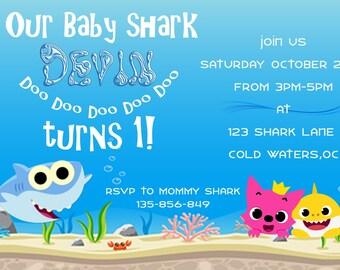 Baby Shark Invitation Birthday Party Theme PDF Printable Custom Invite