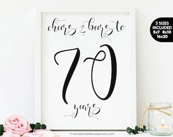 Cheers And Beers To 70 Years Year Old Birthday For Men 70th Beer Party Decorations Sign Printables