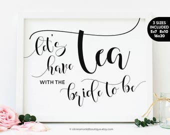 tea party bridal shower sign printable bridal shower tea party decorations rusric bridal tea party favors signs instant download printable