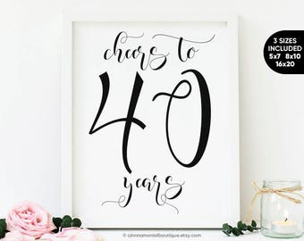 Cheers To 40 Years Sign 40th Birthday Decoration For Her Him Men Woman Year Old Party Signs