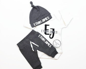 be888f2d884f BABY BOY personalized coming home outfit. Baby shower gift set. Custom infant  outfit. Dark gray Monogrammed leggings and hat.