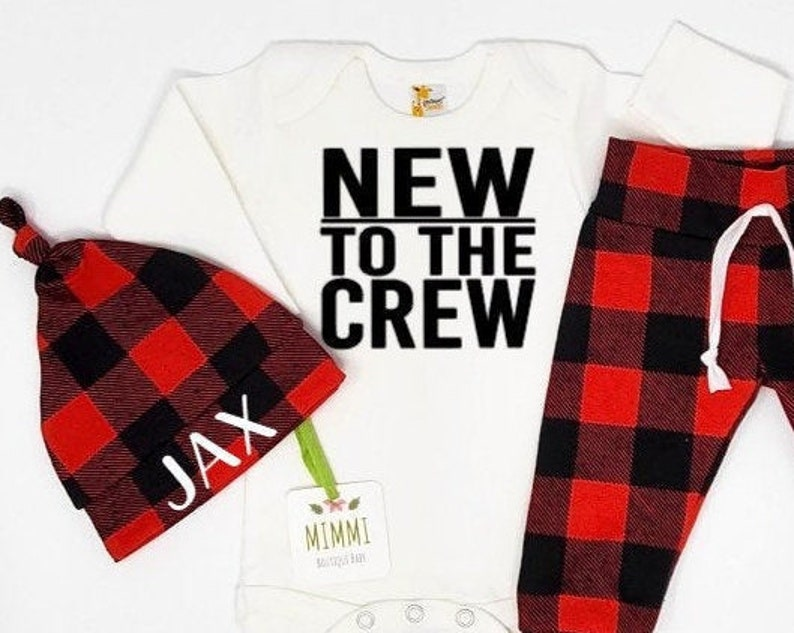 infant newborn boy baby name outfit shower gift set Baby boy going home outfit coming home outfit boy new to the crew buffalo plaid
