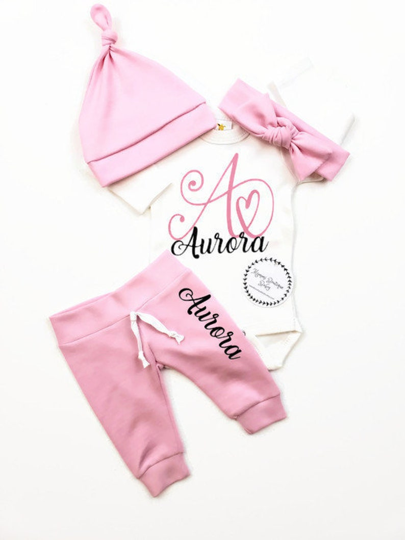 5b04e7fde6a6c Baby girl going home outfit personalized baby clothes, Baby shower gift set  for new mom, pink coming home outfit, newborn photography outfit