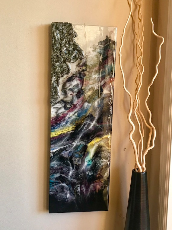Abstract painting on canvas with unique texture and resin finish original art modern art unique art home decor wall decor