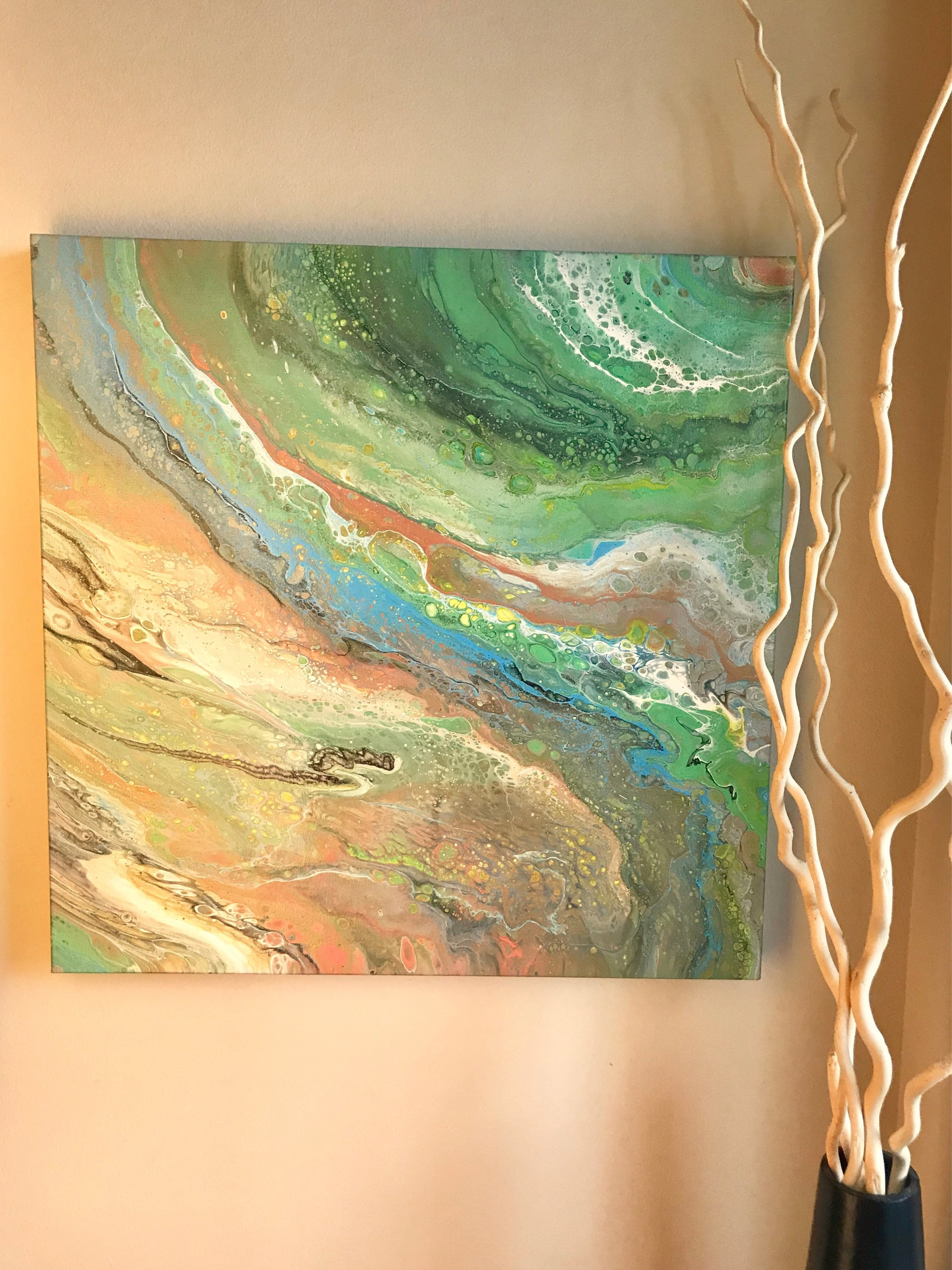 Original Large Acrylic Abstract Painting on Canvas Fluid Art pour ...