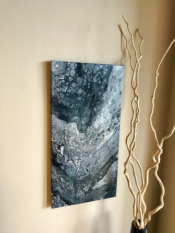 Abstract pour Painting Acrylic Black and White pour fluid art original artwork Acrylic painting on Canvas 12x24