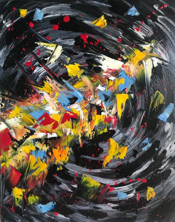 Routine,Oil Abstract Painting ,Original Art 16x20 black yellow red painting