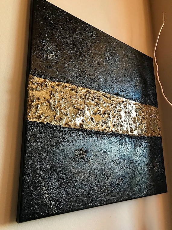 Original Abstract acrylic and resin painting on canvas modern art original art homedecor black and gold abstract painting unique artwork