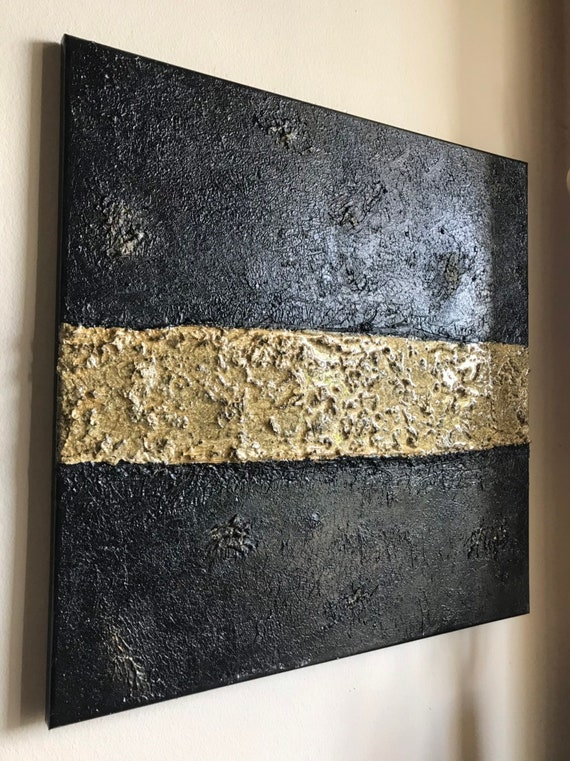 Original textured Abstract acrylic and resin painting on canvas modern art original art homedecor black and gold abstract painting unique ar