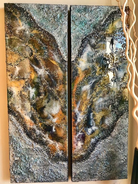 $427.50 $475.00 Large Original Abstract Resin Painting Modern Art Original  Art Acrylic Painting Home Decor Wall Decor Luxury