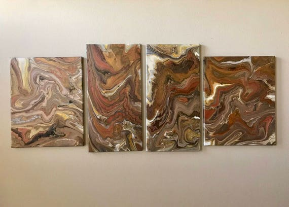 Large Acrylic pour  painting Combination of four Acrylic pour Abstract Painting Original Art 56x24 wall decor, Abstract art, wall art