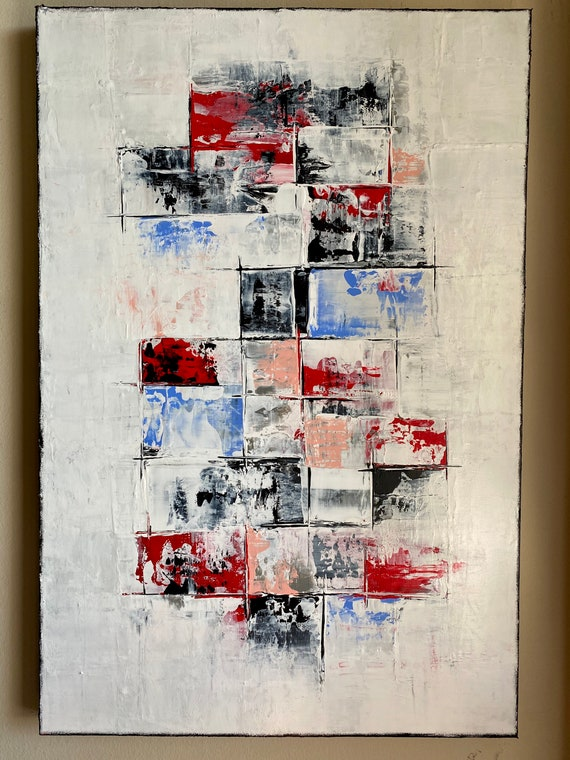 Large Original abstract painting on canvas 24x36 inch, modern art home decoration original art unique art