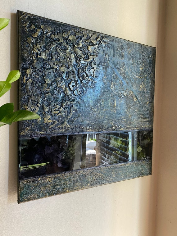 Original abstract texture painting with resin on canvas modern art texture art unique painting home decor