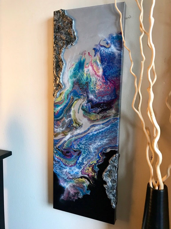 Abstract painting with unique texture and resin finish on canvas original art fluid art home decor wall decor unique art wall design