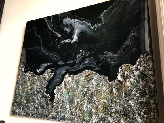 Original abstract painting with resin and texture on canvas modern art unique art texture art abstract painting home decor
