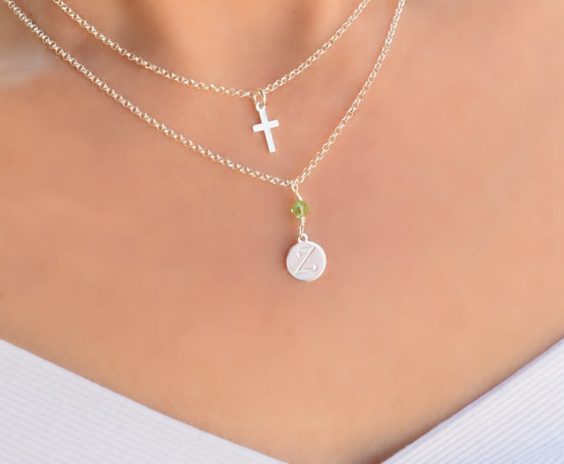 Small Cross Necklace Women Sterling Silver Multi Strand Necklace Silver Cross Necklace Birthstone Initial and Birthstone Necklace