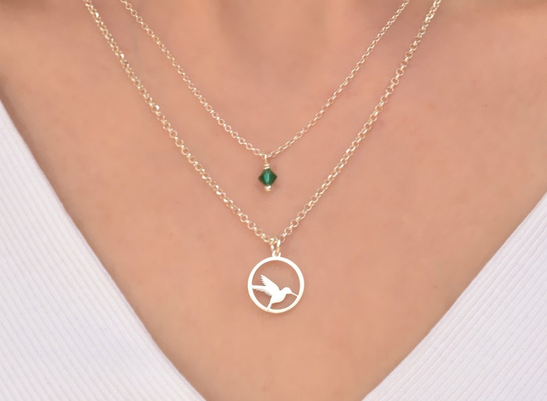 1ab4cc511cbe6 Hummingbird Birthstone Necklace, Bird Pendant Necklace, Nature Necklace,  Sterling Silver Necklaces for Women, Layered Necklace Set