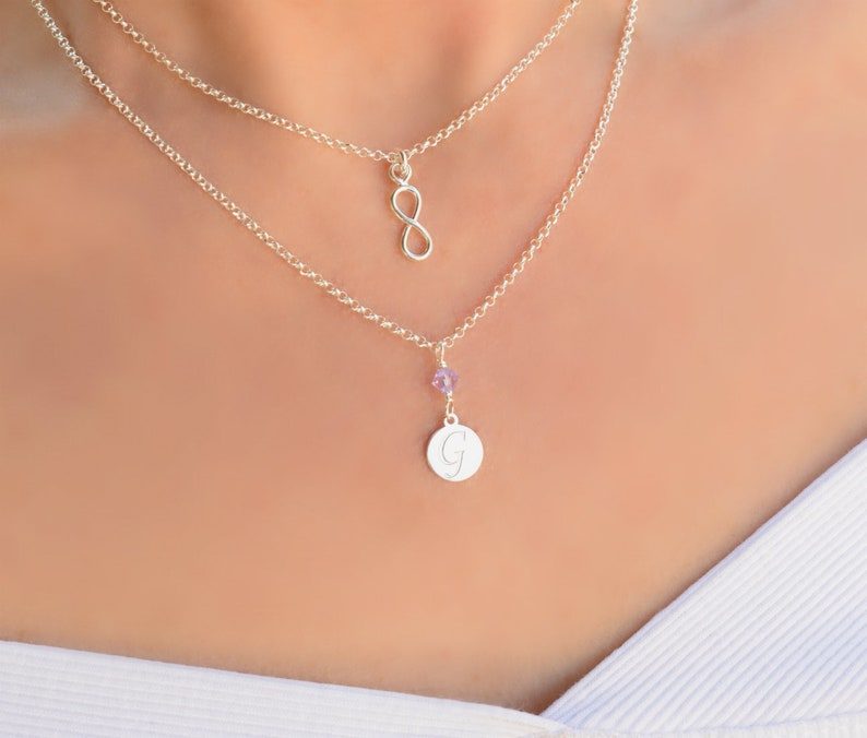 Infinity Necklace with Initial and Birthstone Sterling Silver Necklaces for Women Dainty Silver Layered Necklace Letter Z Necklace