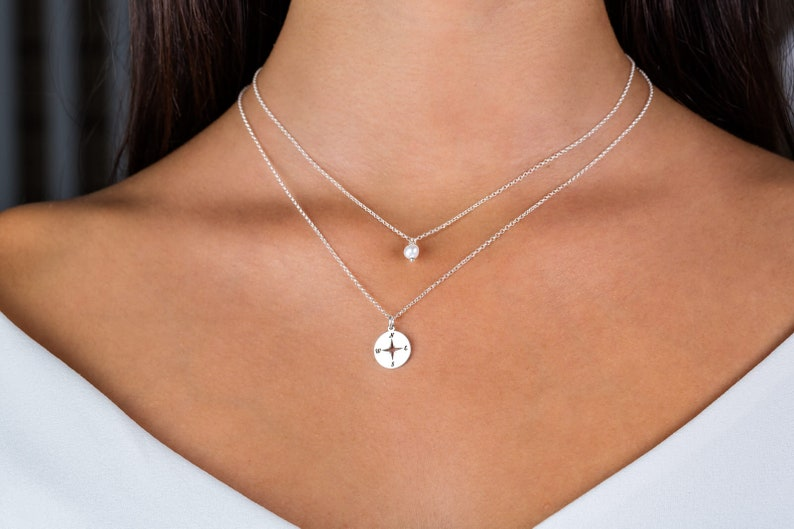 Compass Necklace Travel Necklace Silver Multi Strand Necklace Sterling Silver Necklaces for Women Dainty Layered Necklace Set