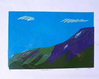 Linocut Print- Stratfarrar- Scottish Highlands