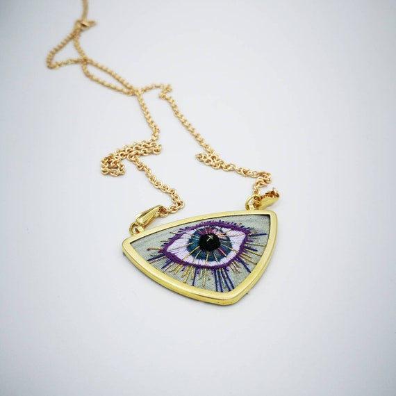Aqua Evil Eye Charm Necklace: Original Embroidered Jewelry