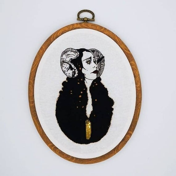 Lilith: Original embroidery art, hand stitched sampler