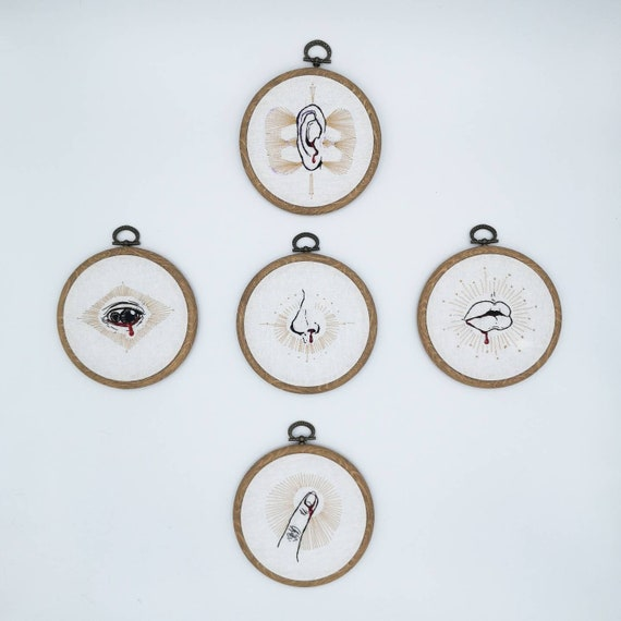 The Five Senses - One through Five: original embroidery art series