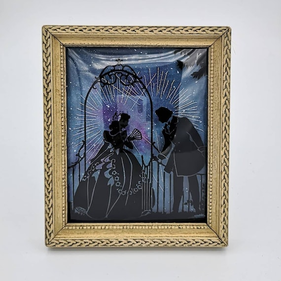 Moonlight Sonata; salvaged vintage art with original embroidery