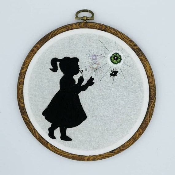 Seeing Bubbles; original embroidery art