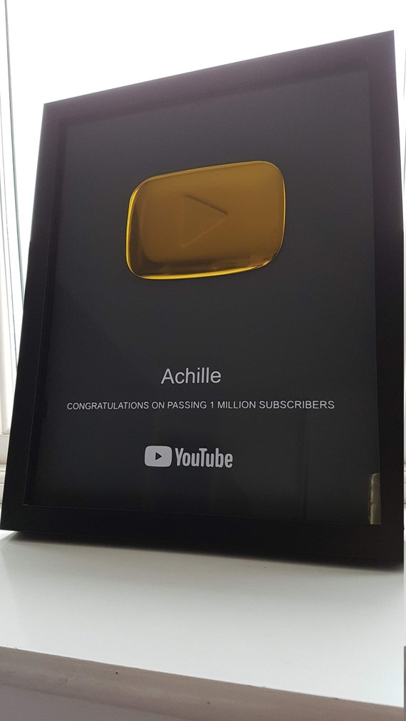 Custom Designed & Personalized Replica First Edition YouTube Gold Silver Play Button Framed Subscriber Novelty Award