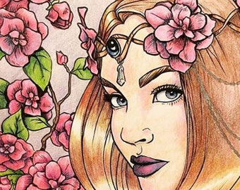 Freckles the Fairy, Adult Coloring Page, Instant Download, Relaxing Fantasy Coloring