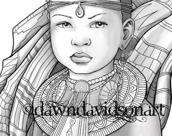 Princess Zumaridi, African, Adult Coloring Pages, Grayscale, Colouring for Grown Ups, Instant Download, Printable Coloring Pages