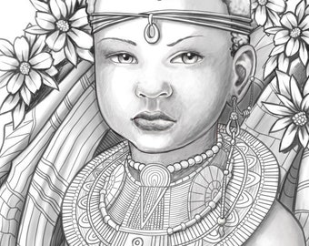 Princess Zumaridi African Adult Coloring Pages Grayscale Colouring For Grown Ups Instant Download Printable