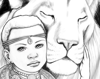 Princess Zumaridi, Lion, African, Adult Coloring Pages, Grayscale, Colouring for Grown Ups, Instant Download, Printable Coloring Pages