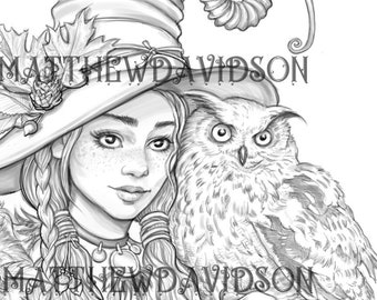 Coloring pages for adults, Athene the Owl Witch, halloween, Grayscale, Colouring for Grown Ups, Instant Download, Printable Coloring Pages