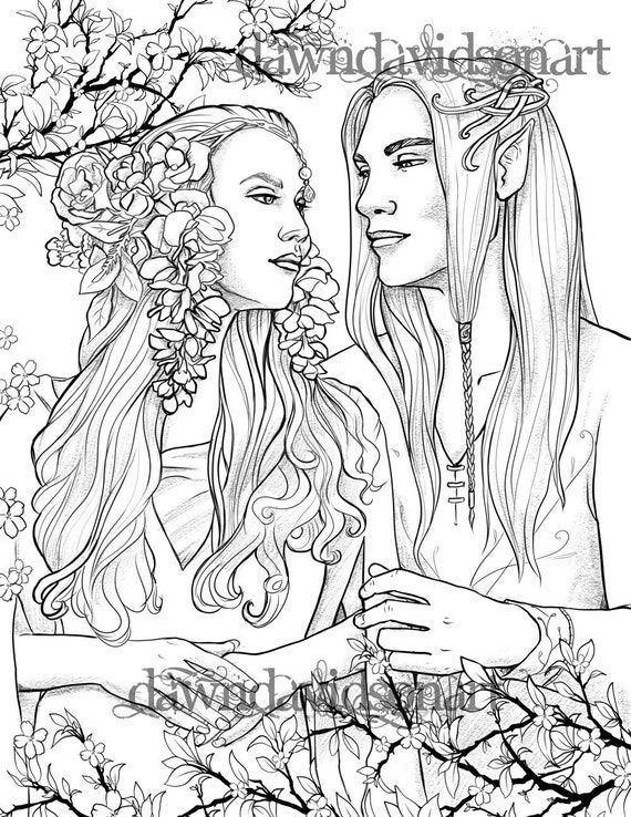 elven coloring pages colouring for grown ups