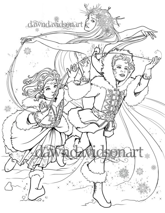 Children Of Winter Coloring Page Fantasy Coloring For Adults Snow Queen Jack Frost Winter Coloring Page Christmas Coloring Page