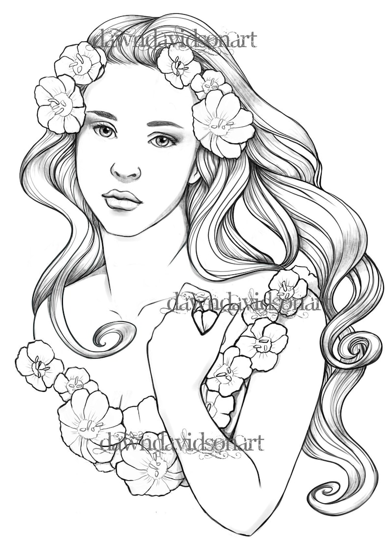 Adult Coloring Page, Spring goddess, Fairy Coloring Page, Fantasy Coloring,  Faery art, Line art, Adult coloring page, Printable