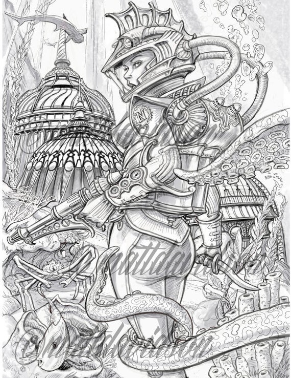 20000 Leagues Under The Sea Coloring Pages Adult Coloring Etsy