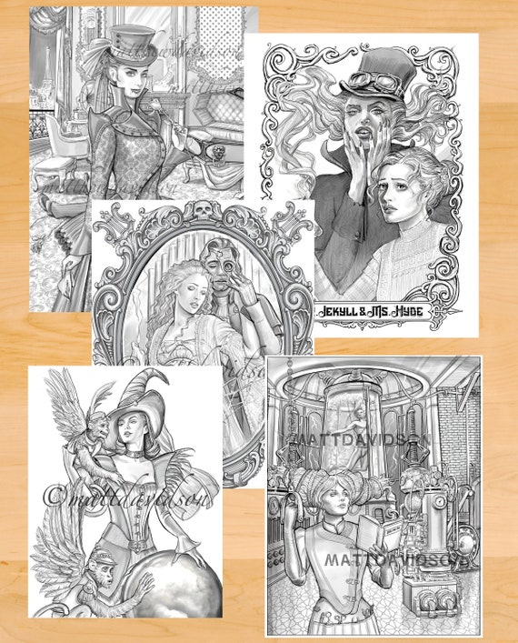 horror gothic coloring pages for adults