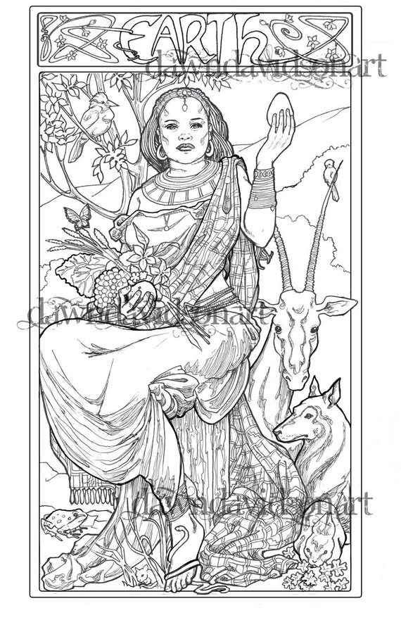 Spirit Of Earth Adult Coloring Page Fantasy Coloring Line Etsy