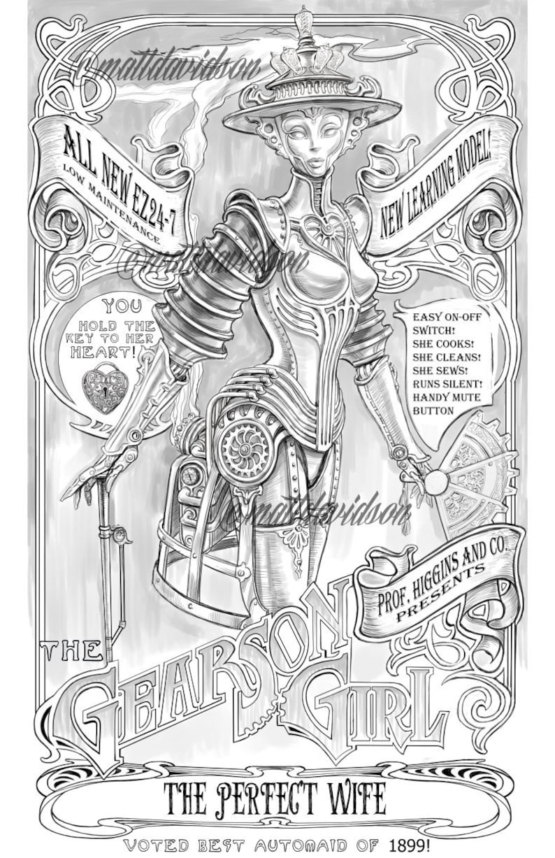 Gearson girl coloring pages adult coloring steampunk etsy
