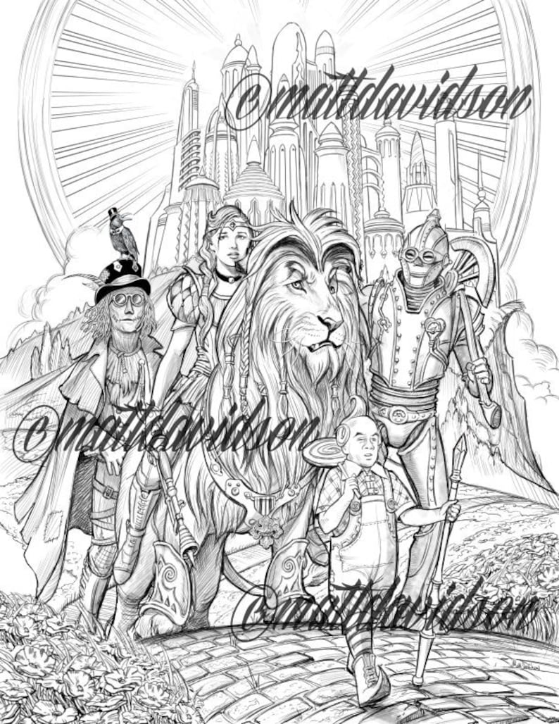 Coloring pages, Adult Coloring, Steampunk coloring page, Wizard of Oz,  steampunk, fantasy coloring, printable, downloadable, grayscale