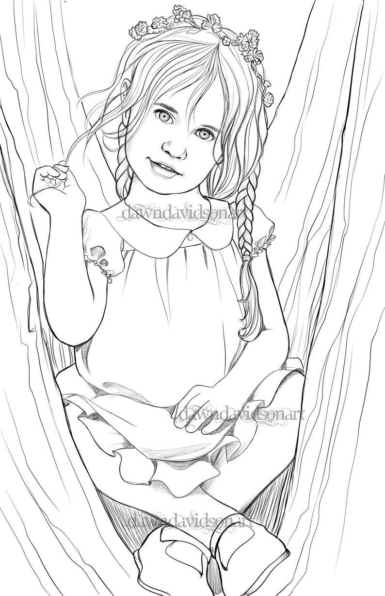 In The Fairy Tree Cute Coloring Page Fantasy Coloring Grayscale Line Art Adult Coloring Page Printable