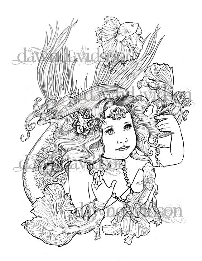Adult Coloring Page Mermaid Betta