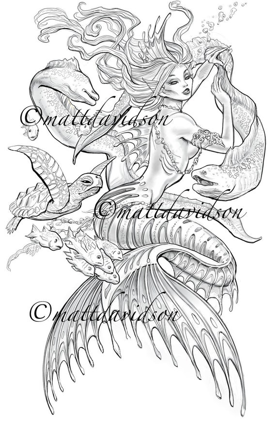 - Anguilles The Sea Siren Mermaid Coloring Pages Adult Etsy