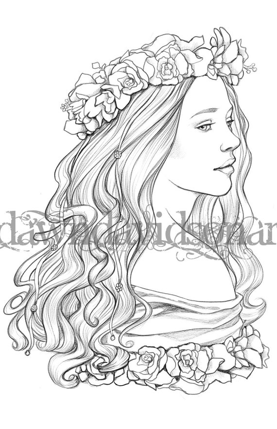 Queen Of May Adult Coloring Pages Grayscale Colouring For Grown Ups Instant Download Printable Coloring Pages