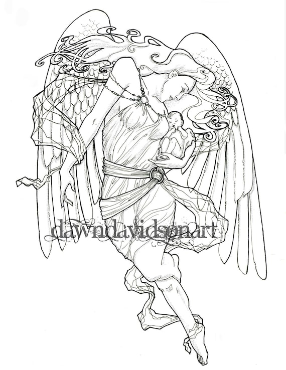 Adult Coloring Page, Printable Instant Download, Angel of Birth, Angel  Coloring Page, Colouring for Grownups